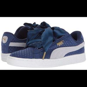Women's Puma Basket Heart Denim Sneakers